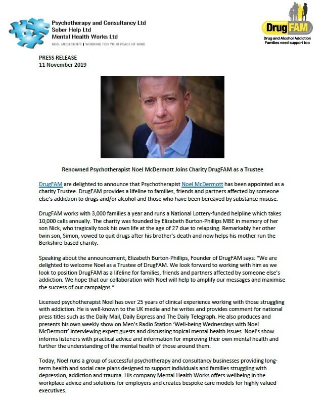 PRESS RELEASE: Renowned Psychotherapist Noel McDermott Joins Charity DrugFAM as a Trustee